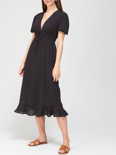 v-by-very-lightweightnbspcrinkle-midi-dress-black