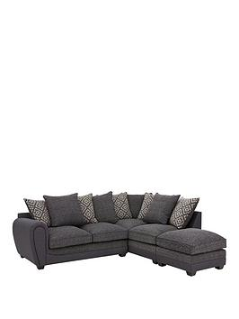 Harrison Compact Fabric Right Hand Corner Chaise Scatter Back Sofa With Footstool