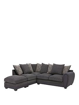 Harrison Compact Fabric Left Hand Corner Chaise Scatter Back Sofa With Footstool