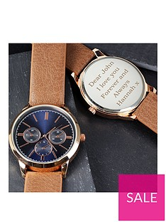 personalised-mens-rose-gold-watch-with-tan-strap