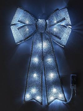 battery-operated-door-bow-christmas-decorationnbsp--silver