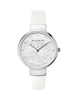 accurist-accurist-silver-textured-dial-white-leather-strap-ladies-watch