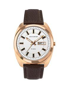 accurist-accurist-retro-range-white-and-rose-gold-detail-daydate-dial-brown-leather-strap-watch
