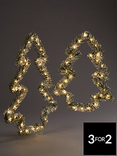 set-2-christmasnbsptree-shaped-lit-wall-decorations