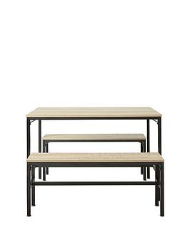 Telford 110 Cm Dining Table With 2 Benches - Light Oak Effect
