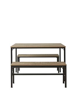 Telford 110 Cm Dining Table With 2 Benches In Rustic Oak Effect