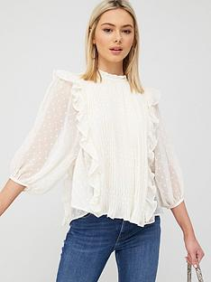river-island-pleated-frill-detail-blouse-cream