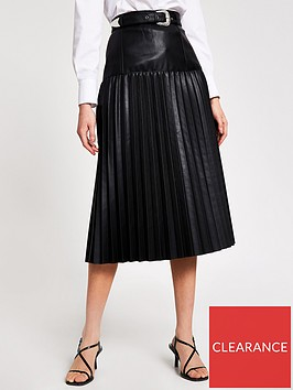 river-island-river-island-pu-western-pleated-midi-skirt-black