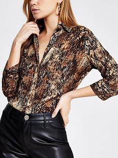 river-island-animal-print-blouse-brown