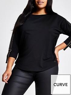ri-plus-notch-hem-taped-sleeve-top-black