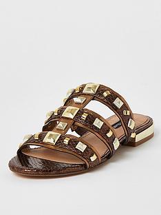 river-island-metallic-studded-sandal-brown