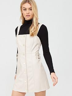 river-island-pu-pinafore-dress-stone
