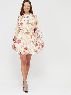 river-island-waisted-frill-neck-printed-mini-dress-cream