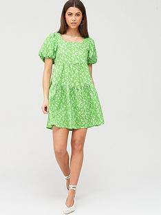 river-island-puff-sleeve-printed-mini-smock-dress-green