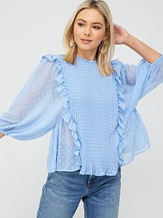 river-island-pleated-frill-detail-blouse-blue