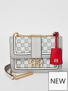 river-island-monogram-check-cross-body-satchel-bag-grey