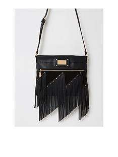 river-island-fringe-studded-messenger-back-black