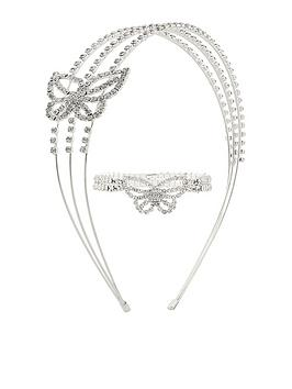 monsoon-girls-diamante-butterfly-stretch-bracelet-and-hairband-silver