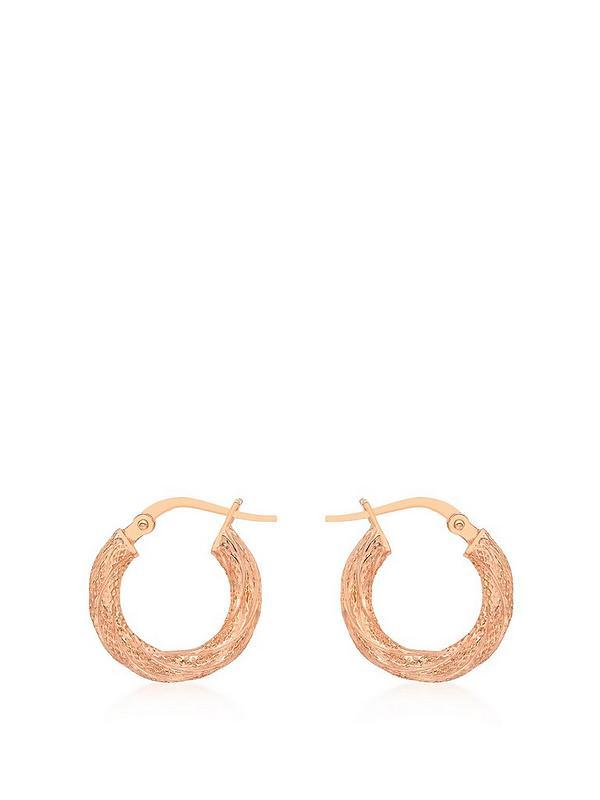 Love Gold 9ct Rose Gold Creole Hoop Earrings Very Co Uk