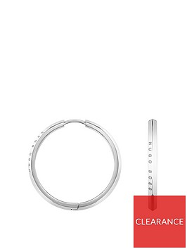 boss-boss-insignia-small-logo-stainless-steel-hoop-earrings