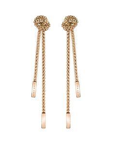 boss-boss-rosette-gold-plated-stainless-steel-mesh-long-knot-earrings