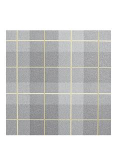 arthouse-heritage-tartan-ochre-grey-vinyl-wallpaper