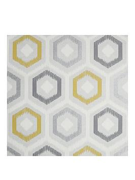 arthouse-ikat-geo-ochre-grey-vinyl-wallpaper