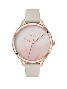hugo-smash-beige-leather-strap-watercolour-dial-ladies-watch