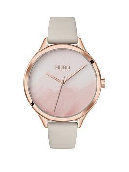 hugo-smash-beige-leather-strap-watercolour-dial-ladies-watch