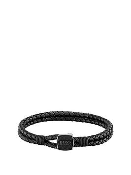 boss-boss-seal-braided-black-leather-band-with-logo-stainless-steel-clasp