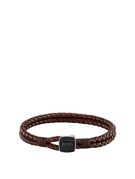 boss-boss-seal-braided-brown-leather-band-with-logo-stainless-steel-clasp