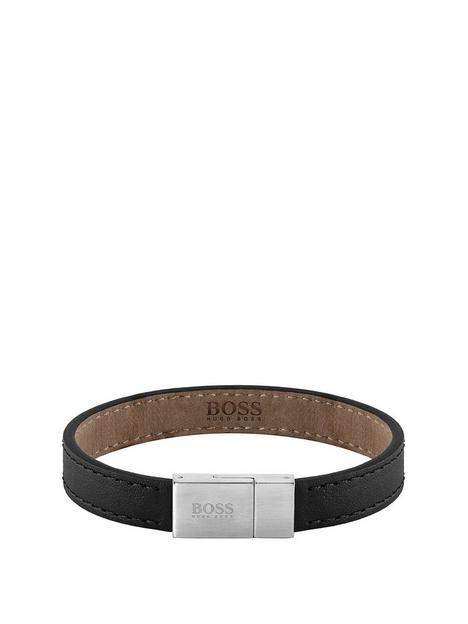 boss-boss-leather-essentials-black-leather-band-with-stainless-steel-logo