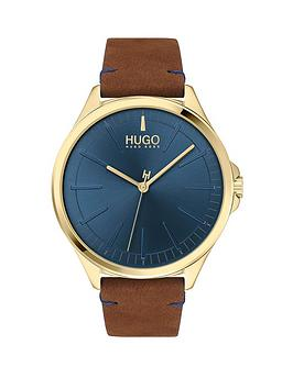 hugo-smash-brown-leather-strap-blue-dial-mens-watch