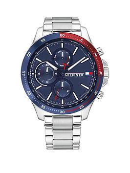 Tommy Hilfiger Tommy Hilfiger Bank Stainless Steel Bracelet Navy Sunray Dial Watch
