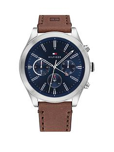 tommy-hilfiger-tommy-hilfiger-ashton-brown-leather-strap-navy-sunray-dial-mens-watch