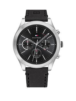tommy-hilfiger-tommy-hilfiger-ashton-black-leather-strap-black-sunray-dial-mens-watch