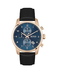 boss-boss-skymaster-sports-lux-black-leather-strap-chronograph-blue-dial-watch