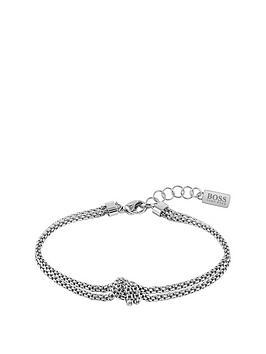 boss-boss-rosette-stainless-steel-mesh-knot-bracelet