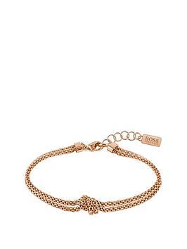 boss-boss-rosette-gold-plated-stainless-steel-mesh-knot-bracelet
