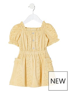 river-island-mini-mini-girls-broderie-puff-sleeve-dress--yellow