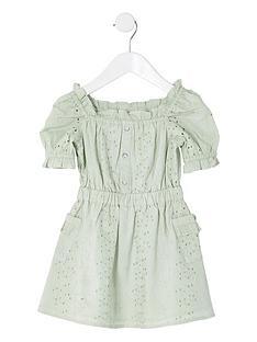 river-island-mini-mini-girls-broderie-puff-sleeve-dress--green