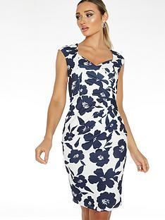 quiz-scuba-crepe-floral-sleeveless-sweetheart-ruche-midi-dress-navy-creamnbsp