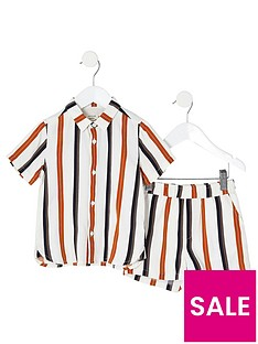 river-island-mini-boys-stripe-shirt-and-short-co-ord-ecru