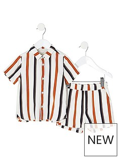river-island-mini-mini-boys-stripe-shirt-and-short-co-ord-ecru