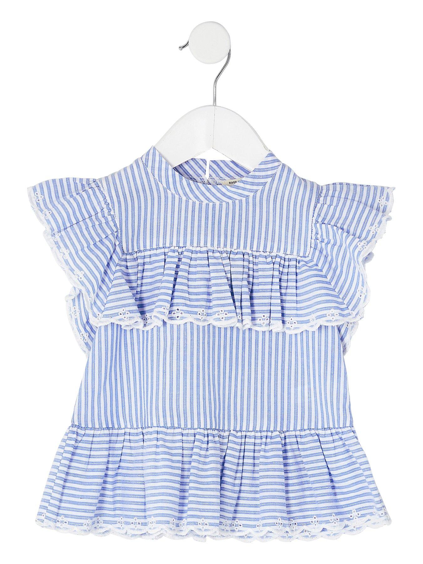 River Island Blue stripe frill broderie blouse ($70