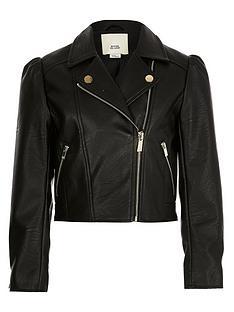 river-island-girls-faux-leather-puff-sleeve-jacket-black