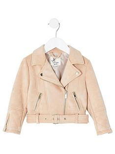 river-island-mini-mini-girls-suedette-belted-biker-pink