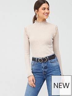 river-island-frill-detail-top-oatmeal