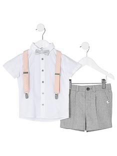 river-island-mini-mini-boys-shirt-and-shorts-setnbsp--whitegrey