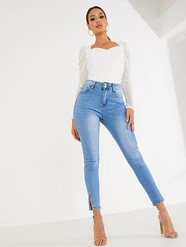 quiz-split-hem-skinny-jeans-denim